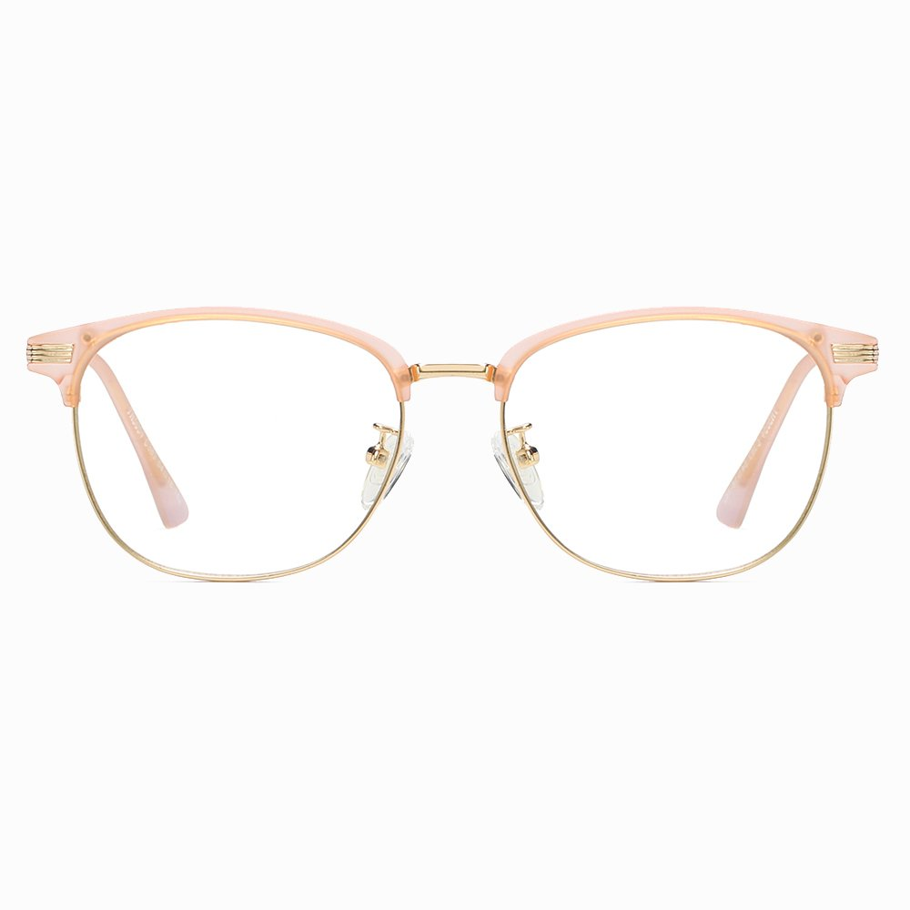 half round eyeglasses with gold trimmed lenses