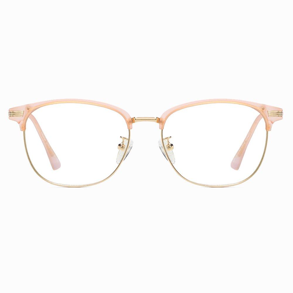 half round eyeglasses with gold trimmed lenses
