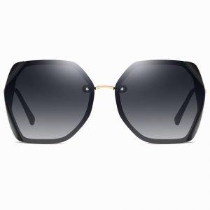 hexagon shape sunglasses, black gradient, deep gray, for women girls