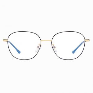 Black Gold Square Wire Frame Eyeglasses