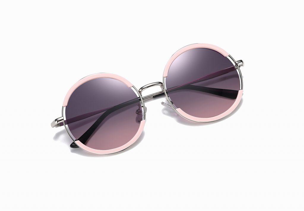 Steampunk Lennon round sunshade with pink trim, purple gradient lens, silver nose bridge