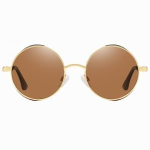 Brown Gold Steampunk Circle Sunglasses for men