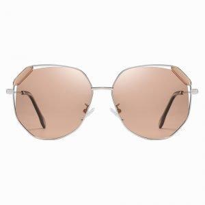Light Brown Geometric Sunglasses Women