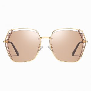 light brown square sunglasses with gold frame