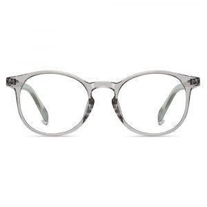 light grey round eyeglasses