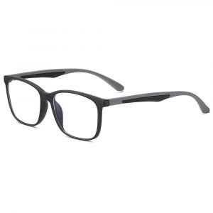 men rectangle eyeglasses with silver temple arms