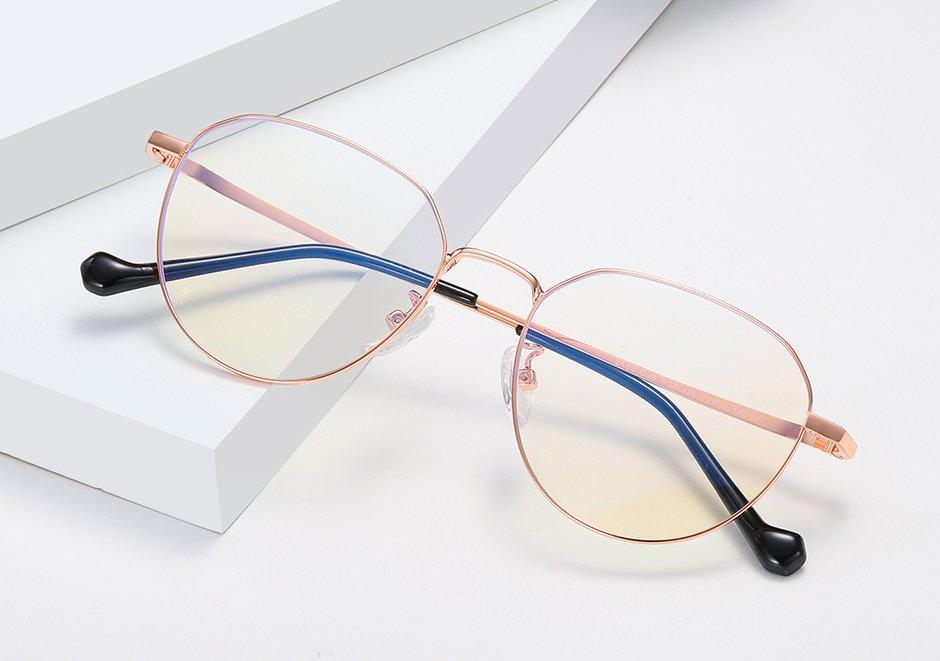 rose gold metal round eyeglasses