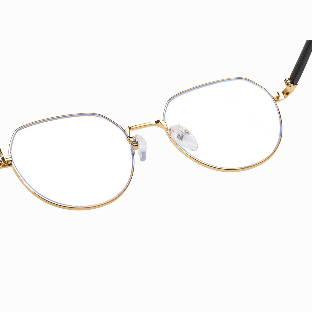 adjustable nose pads, gold round eyeglasses