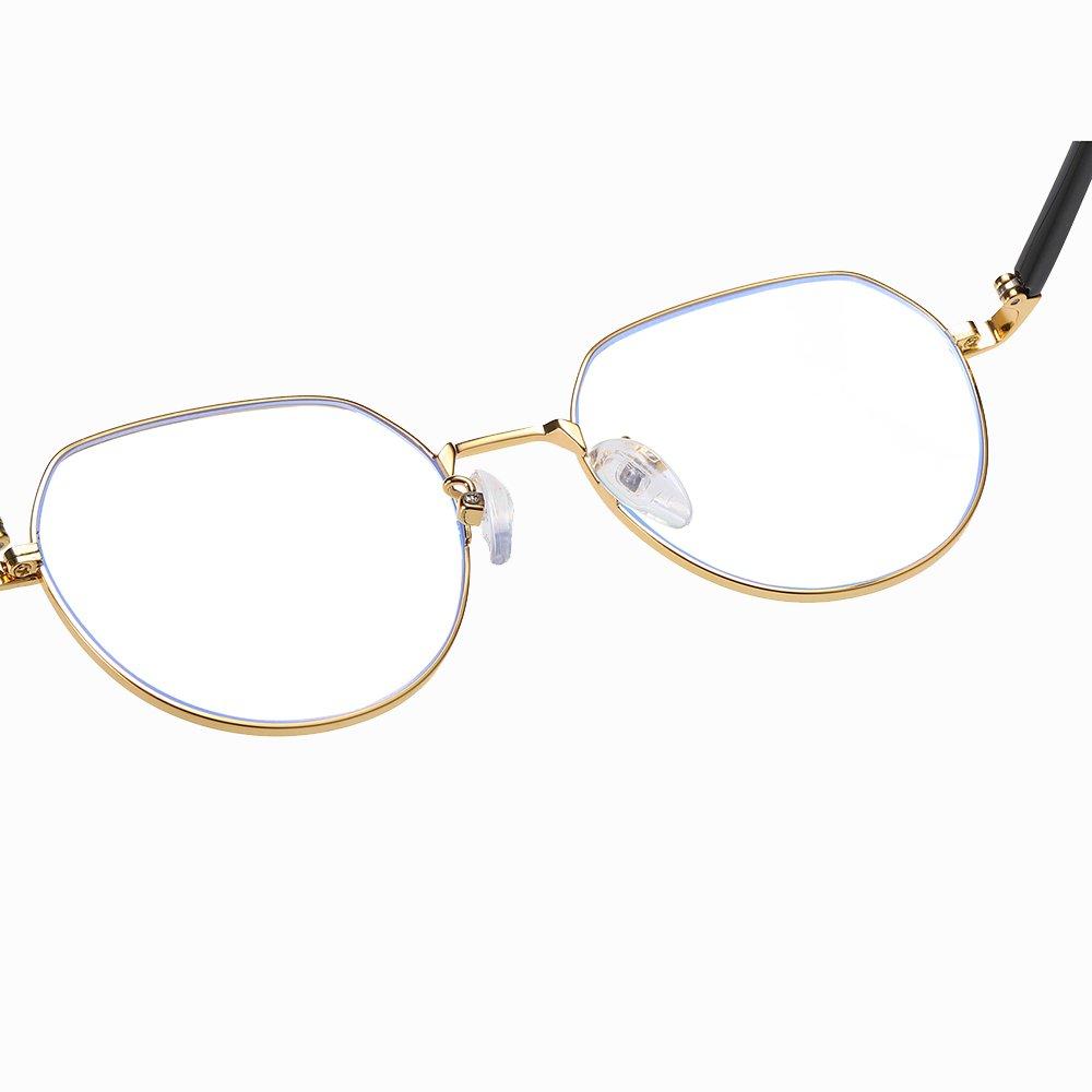 adjustable nose pads, gold round eyeglasses