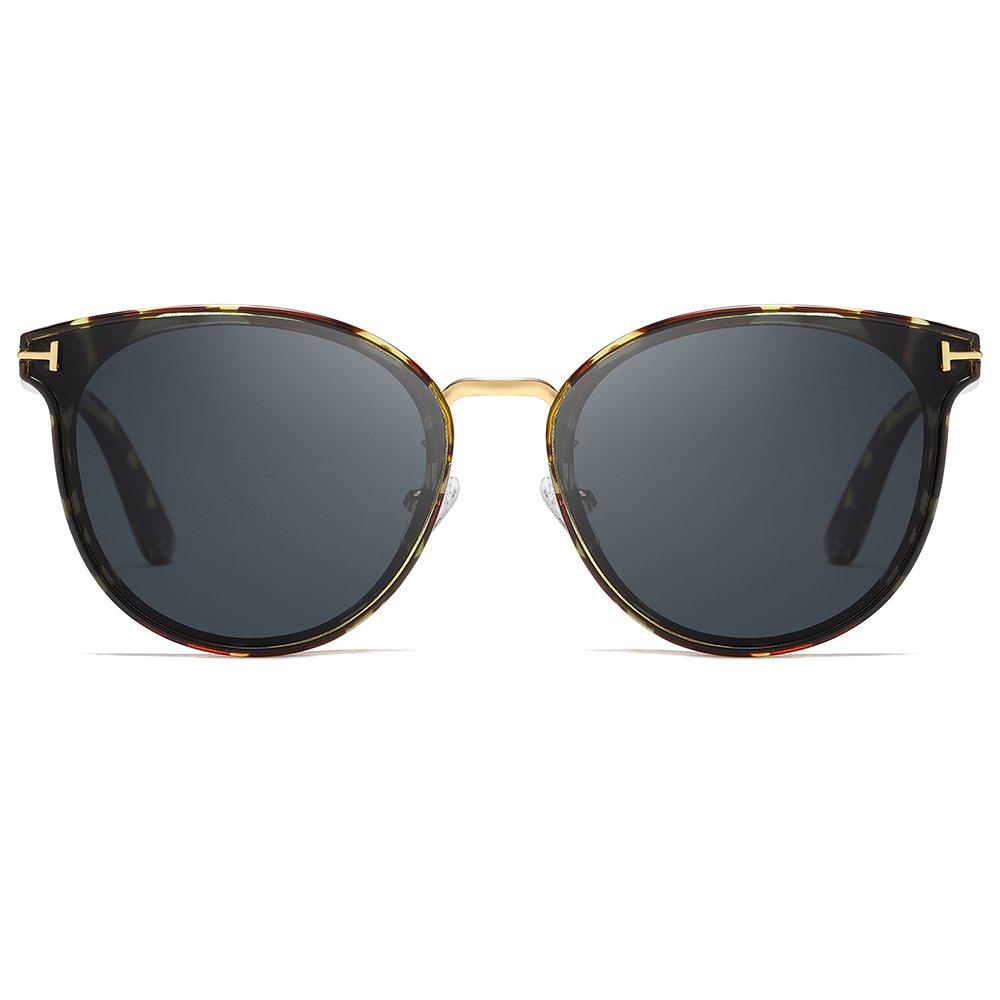 stylish round sunglasses with tortoise frame