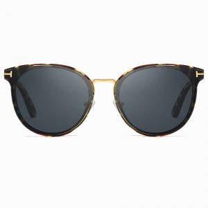 round sunglasses with tortoise frame, gold nose bridge