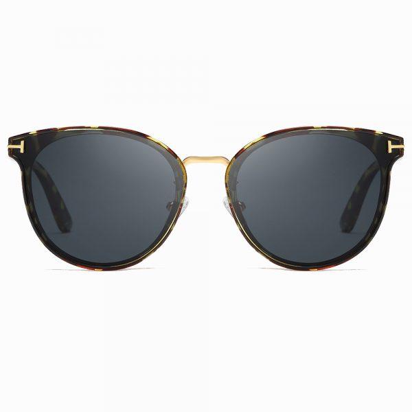 round sunglasses with tortoise frame, gold nose bridge
