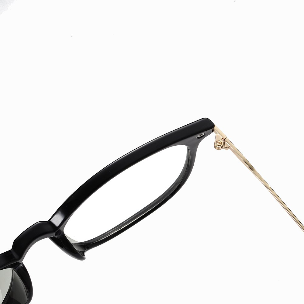 black frames with gold temple arms