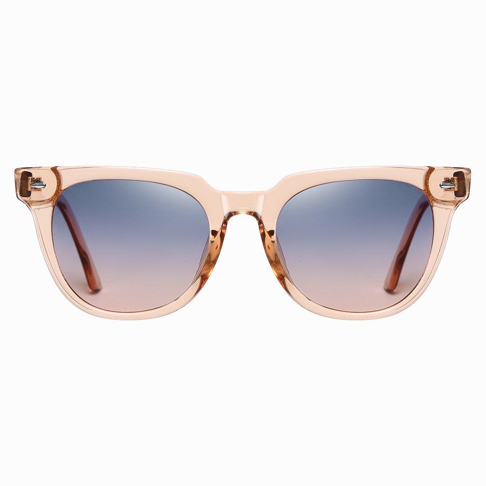 pink square sunglasses with purple gradient lenses
