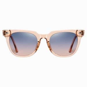 roze vierkante zonnebril met paars kleurverloop lenzen