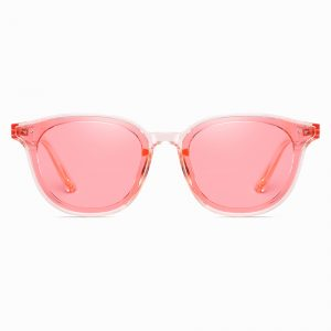 pink tinted lenses and squared off round sunglasses for women