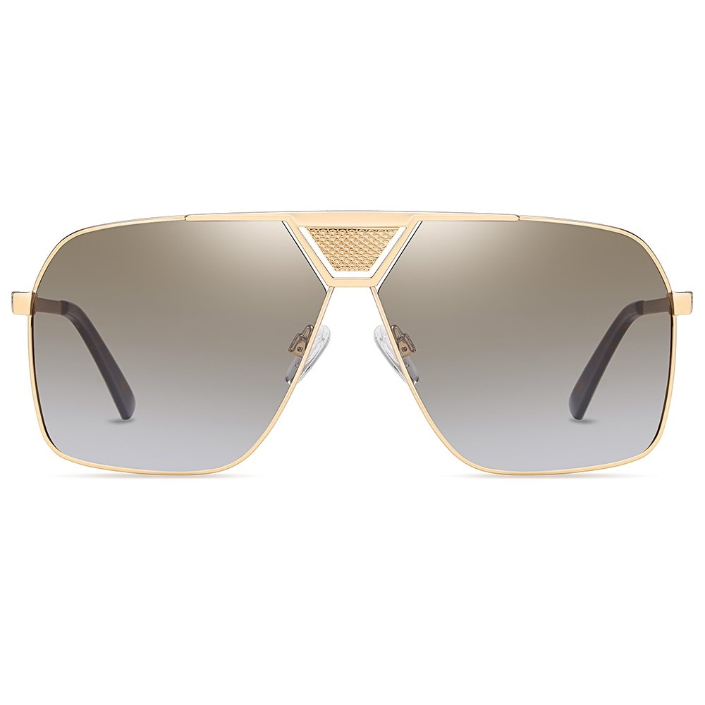 oversized square double bridge light brown sunglasses