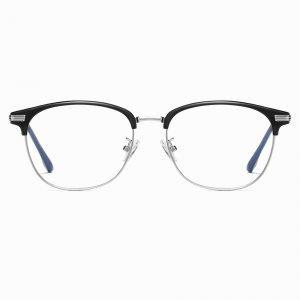 Half Frame Silver Frame Eyeglasses for Women Men