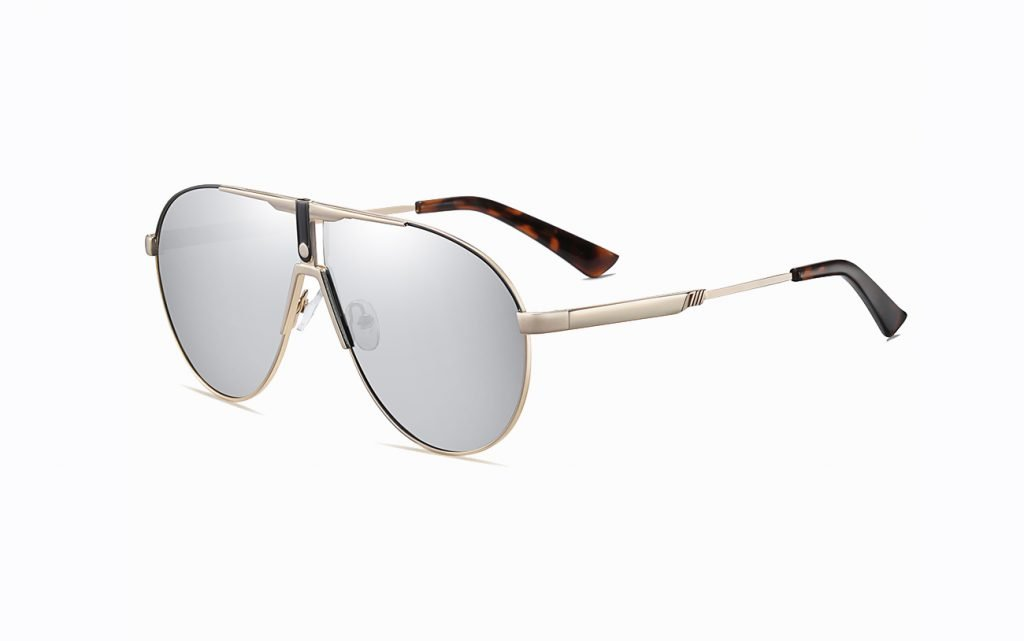 oversized aviator sunglasses with gold temple arms tortoise ending tips