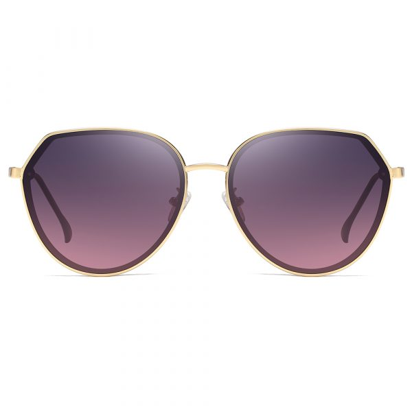 purple gradient round circular sunglasses with gold trim