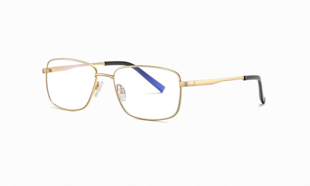 gold rectangle eyeglasses with gold temple arms for women
