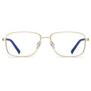gold rectangular eyeglasses for men women