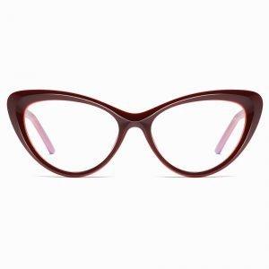 Wine Red Cat Eye Glasses for Women