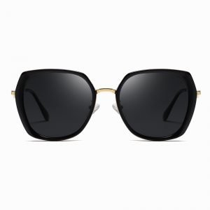 black square sunglasses for women, black lens with gold nose bridge