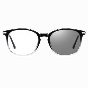 black gradient frames, square eyeglasses