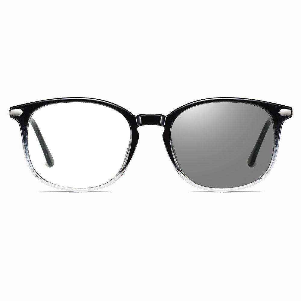 black gradient frames, square eyeglasses