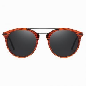 Double Bridge Red Round Sunglasses