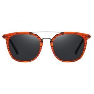 round double bridge sunglasses with red frame for men women