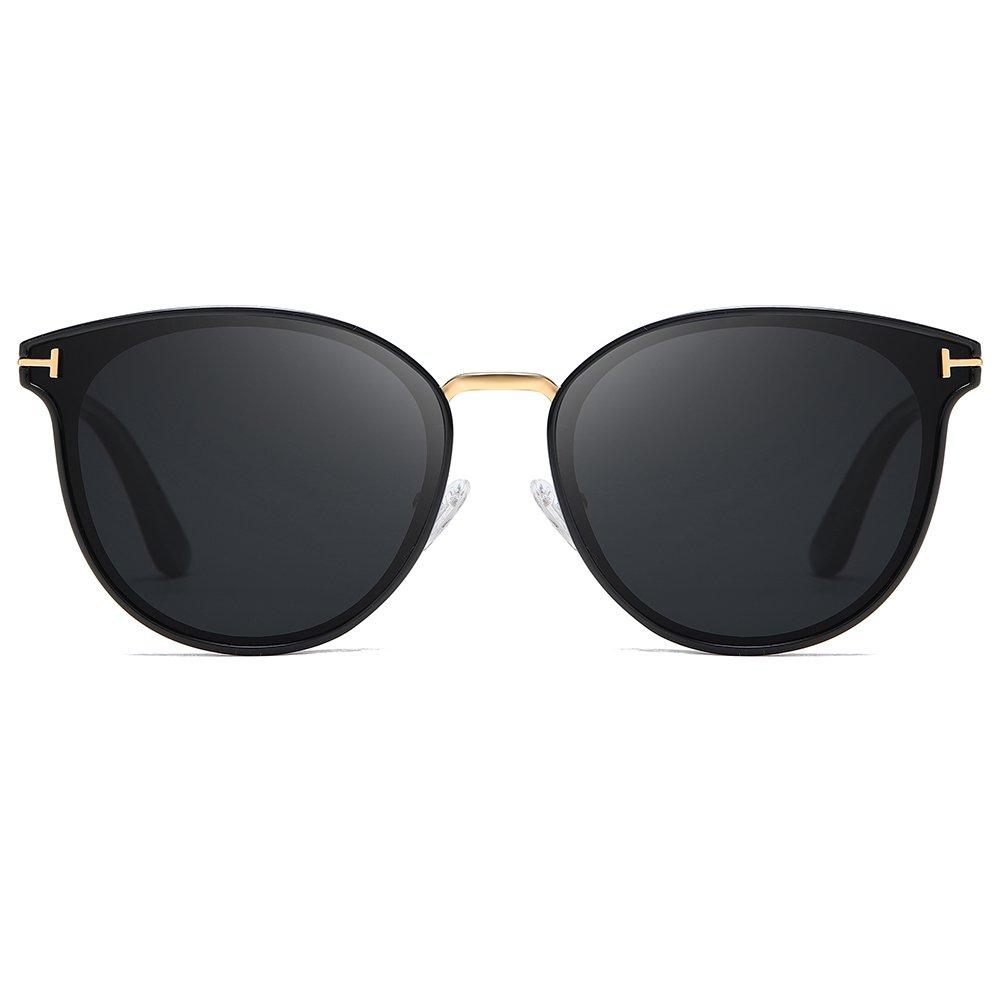 black round sunglasses with gold nose bridge