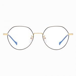 round wire frame glasses with black frames