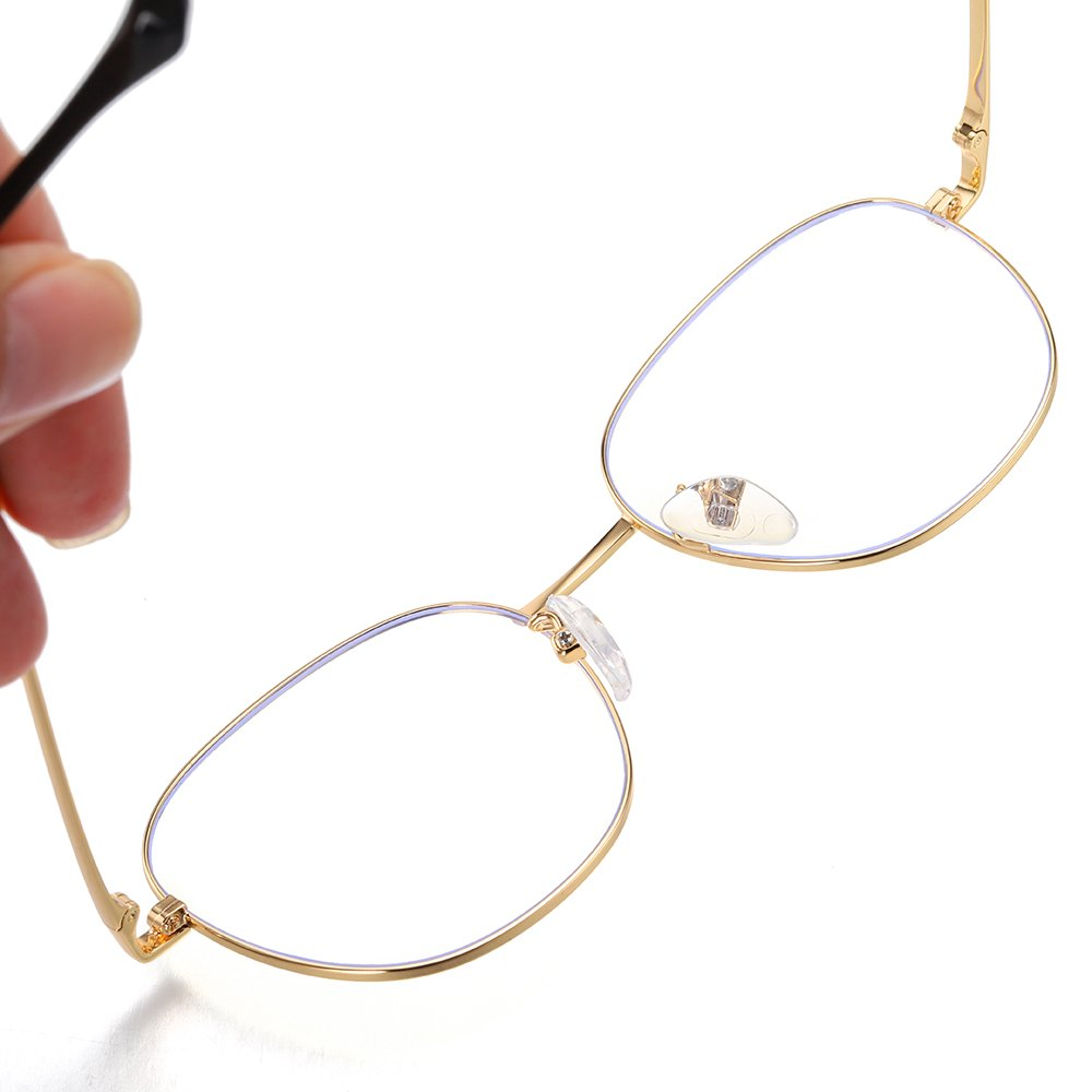 square wire frame eyeglasses with adjustable nose pads