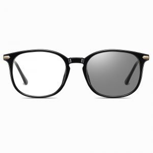 black round eyeglasses with light adaptive lenses