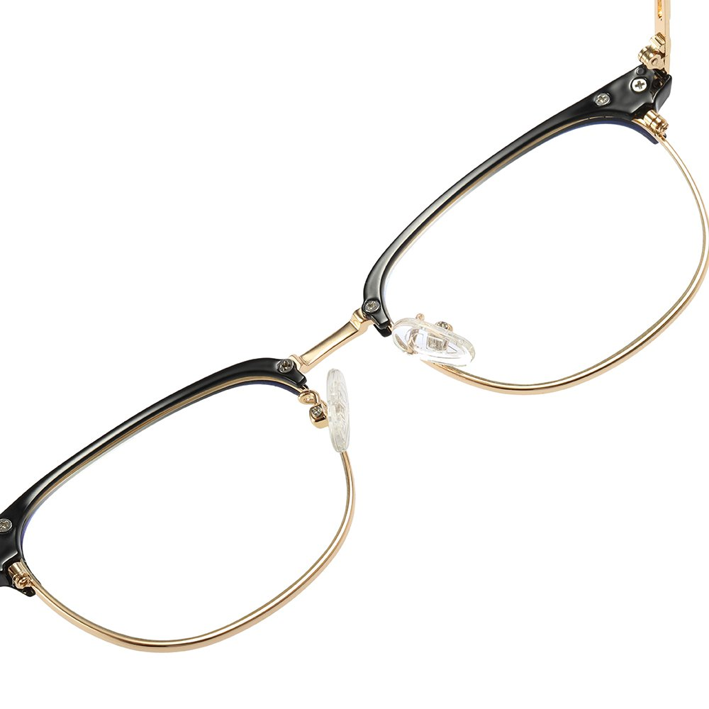 rectangle eyeglasses with gold trimmed lenses, black half top frame
