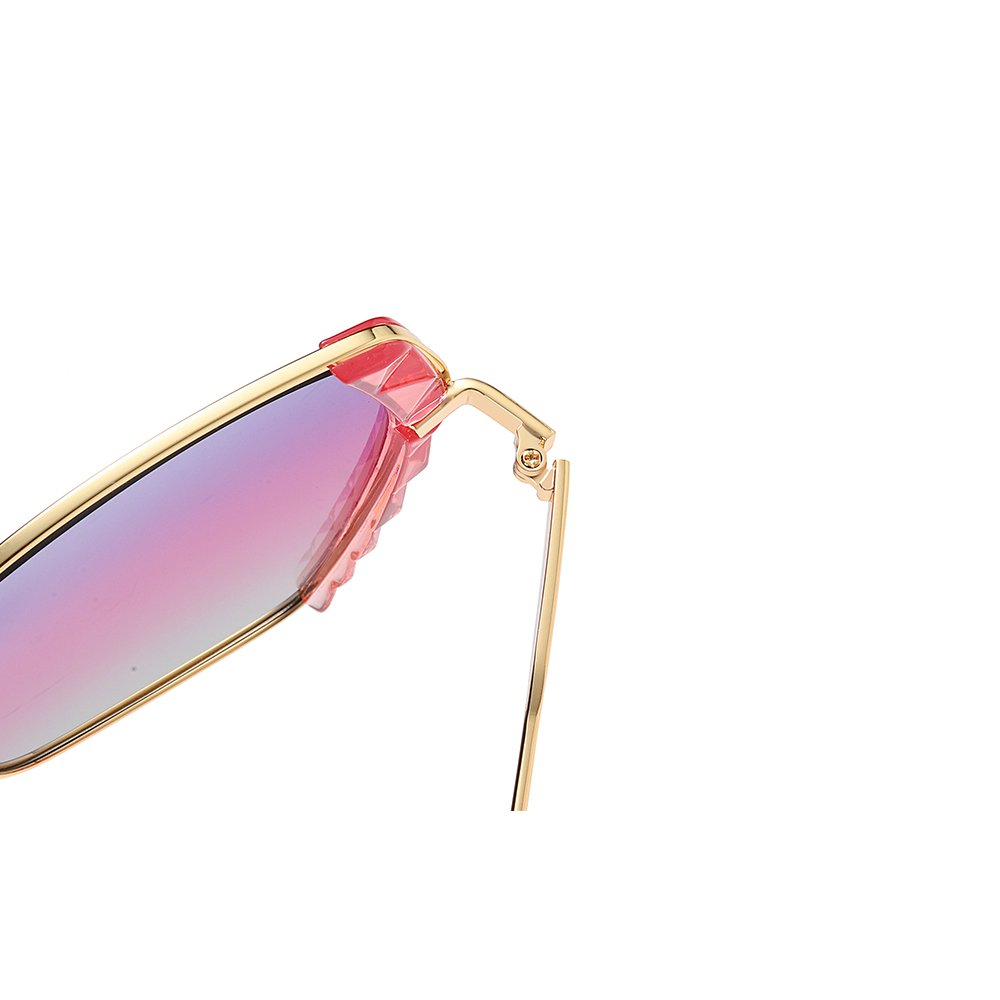 purple pink gradient sunglasses with gold trim and spring hinges