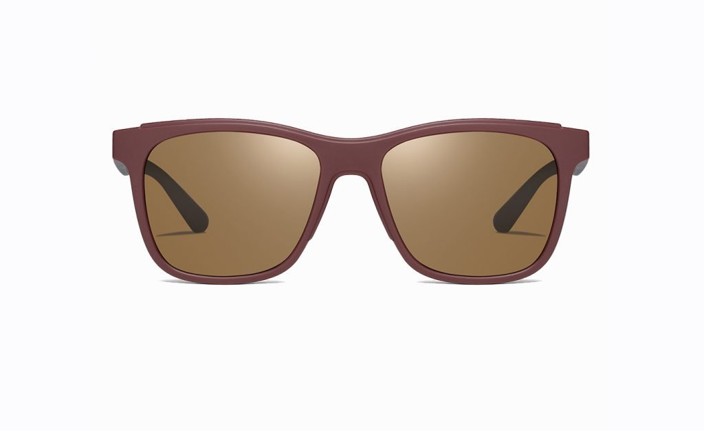 square sunglasses with deep red frames