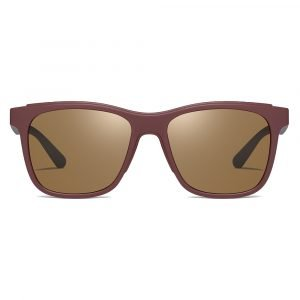 square sunglasses, red frame and brown tinted lenses