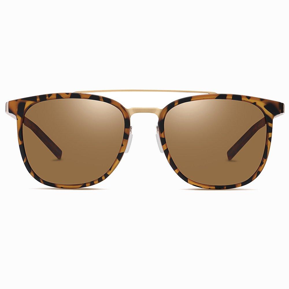 Tortoise Square Double Bridge Sunglasses for Men