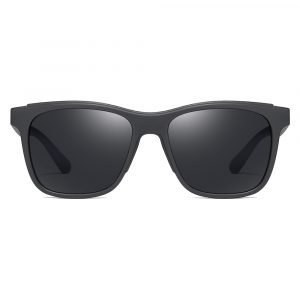 men square sunglasses , black frame and black tinted lenses
