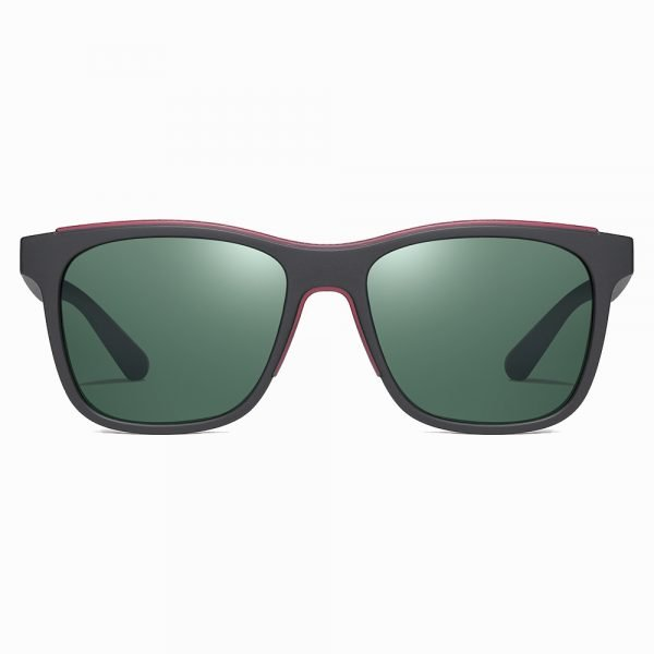 black square sunglasses for men with green G15 lenses