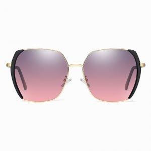 square purple gradient sunglasses with black trims