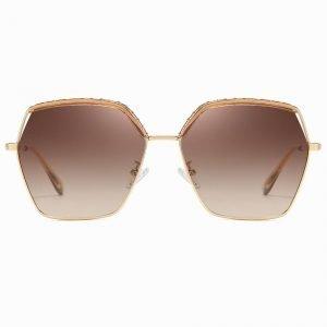 Tea brown gradient geometric sunglasses