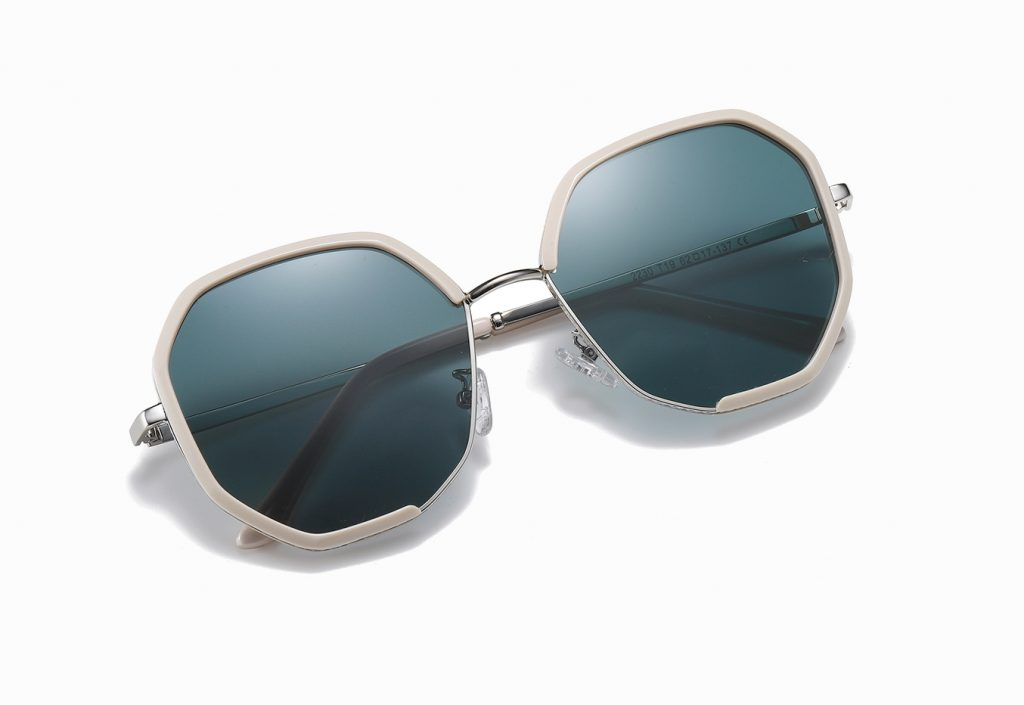 teal blue geometric sunglasses with ivory white frame