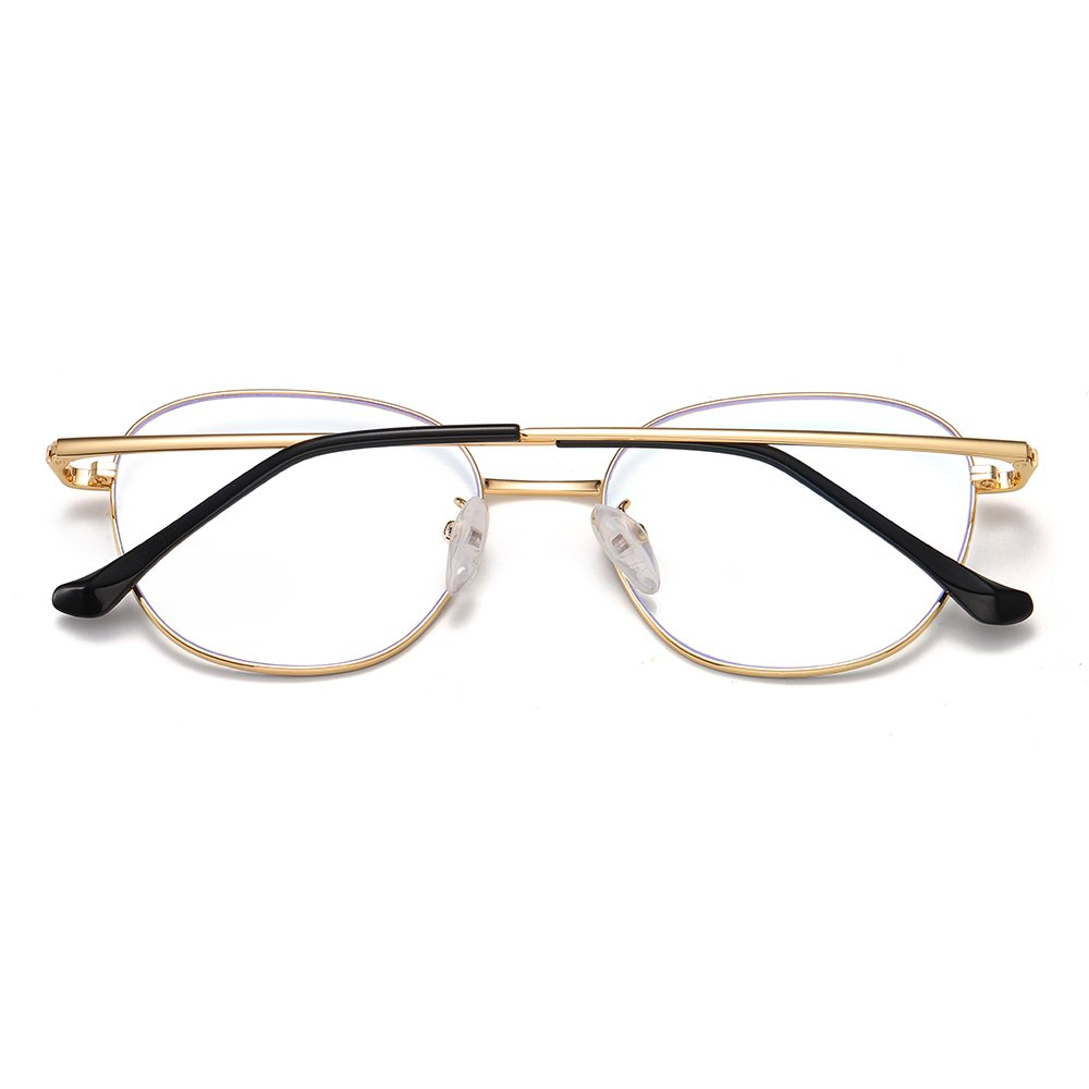 gold round eyeglasses with gold temple arms