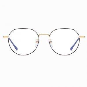 black gold thin frame eyeglases