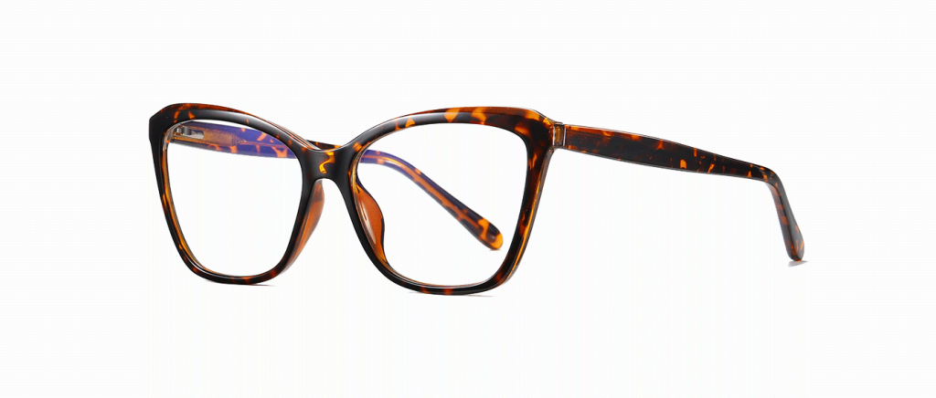 square cateye glasses, tortoise frames and temple arms