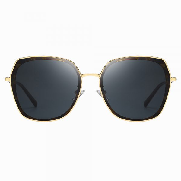 black square sunglasses with tortoise frame and gold trim